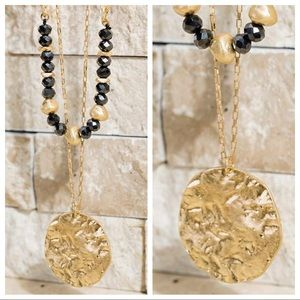 Jewelry - SEND A MESSAGE DOUBLE LAYER NECKLACE-BLACK/GOLD